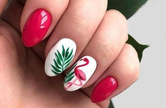 paznokcie flamingi